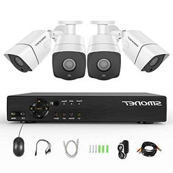 Security Camera System 1080P,SMONET 4 Channel Home Security