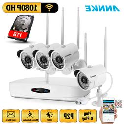 ANNKE 1080P WIFI Wireless Security System 4CH Monitor Night