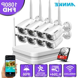 ANNKE Wireless HD 1080P HDMI 4CH NVR 4x 2MP WIFI IR CCTV Security Camera System