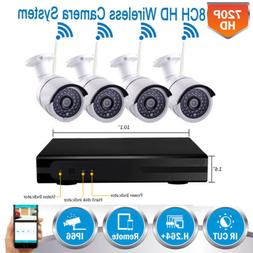 Wireless 8CH HDMI DVR Outdoor IR-CUT WiFi Camera Security Sy