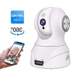 Wireless Security Camera, 1536P 3MP WiFi IP Home Surveillanc