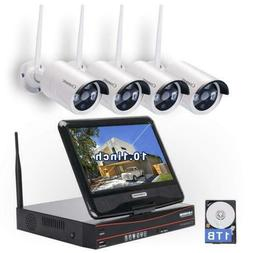 All in one with Monitor Wireless Security Camera System Home