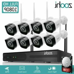 Zoohi Outdoor Security Camera System Wireless WIFI 1080P CCT